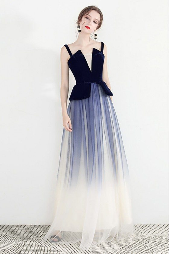 Unusual Ombre Blue Long Tulle Party Dress With Straps
