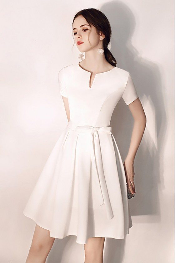 Pretty Short White Hoco Party Dress With Sash Sleeves