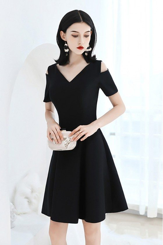 Little Black Chic V-neck Hoco Party Dress Fit And Flare