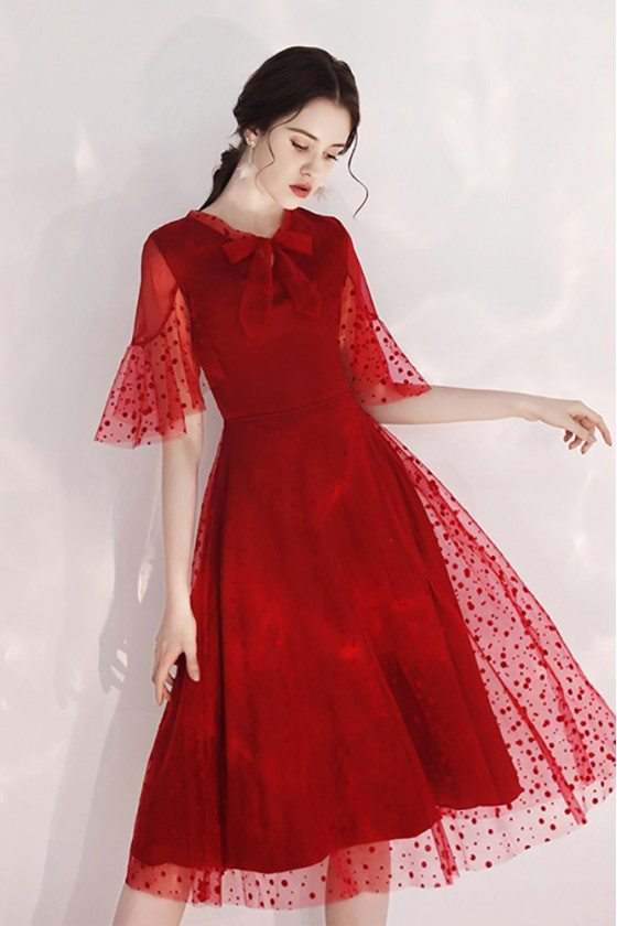 Retro Burgundy Tulle Party Dress Polka Dot Lace With Sleeves
