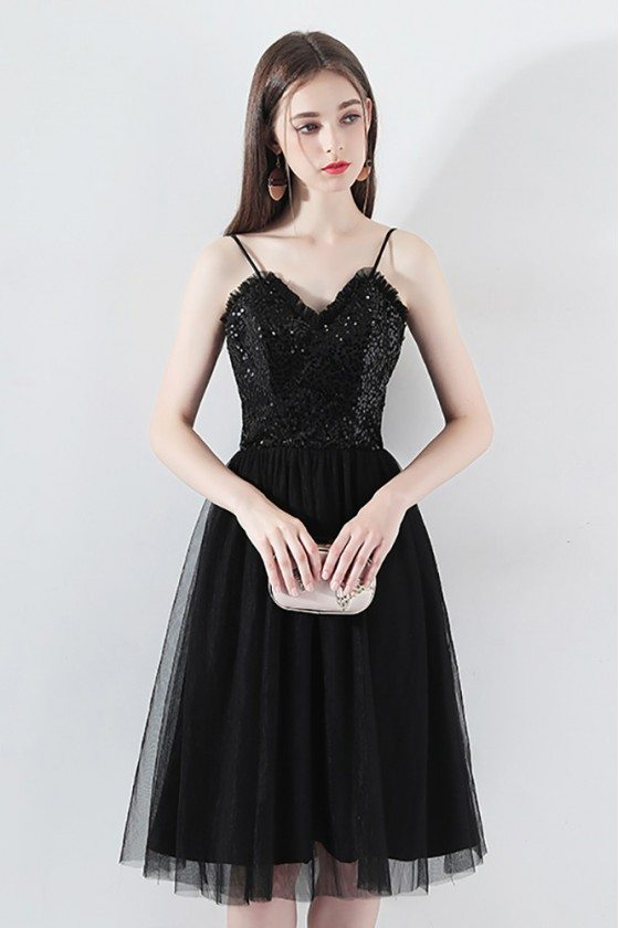 Cute Black Sequins Tulle Short Party Dress With Spaghetti Straps