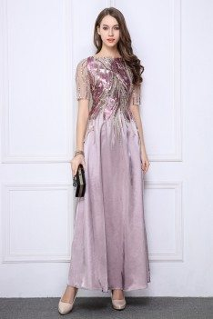 Sequin Embroidery Short Sleeve Long Party Dress