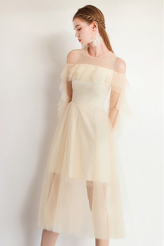 Fairy Aline Champagne Tulle Party Dress Sheer Neck With Sleeves