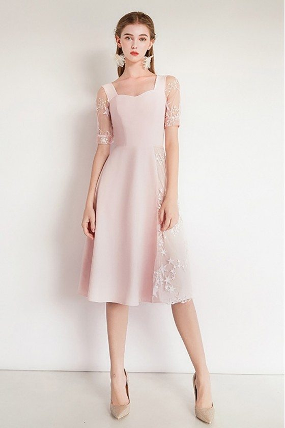 Pretty Pink Lace Party Dress With Short Sleeves