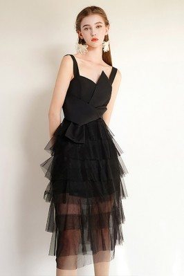 Black Tulle Aline Short...