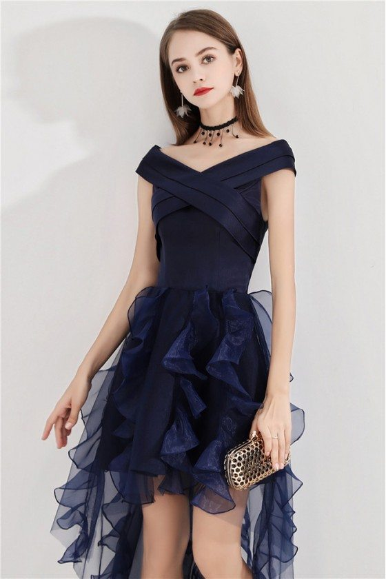 Navy Blue Short Puffy Party Dress High Low With Ruffles