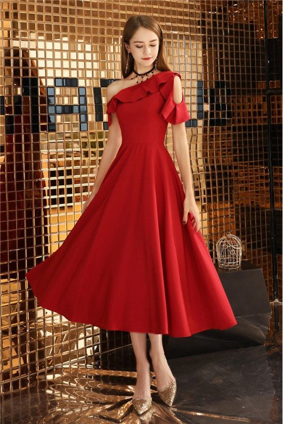 Red Midi Pleated Party Dress For Semi Formal