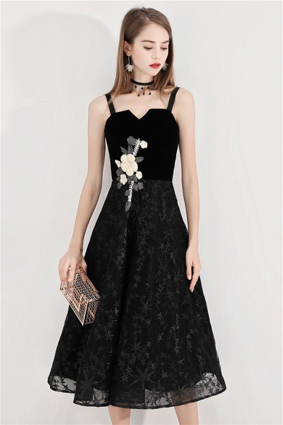 Black Lace Midi Party Dress With Flower Embroidery