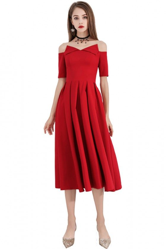 Special Red Midi Party Dress Pleated With Off Shoulder Sleeves