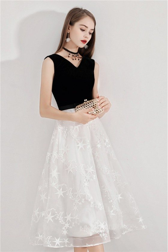 Black And White Lace Party Dress Midi Length Sleeveless