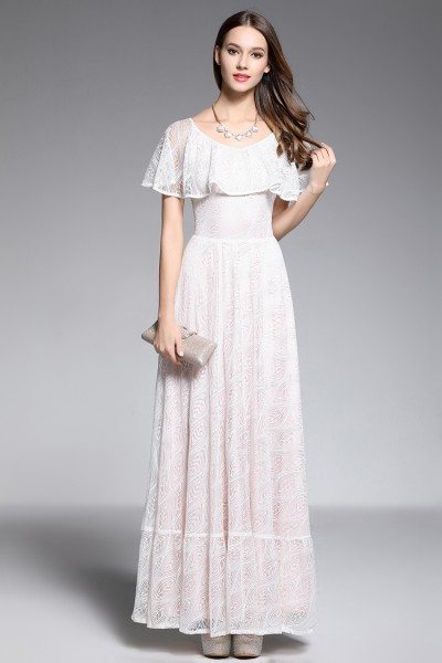 White Lace Ruffle Neckline Long Party Dress