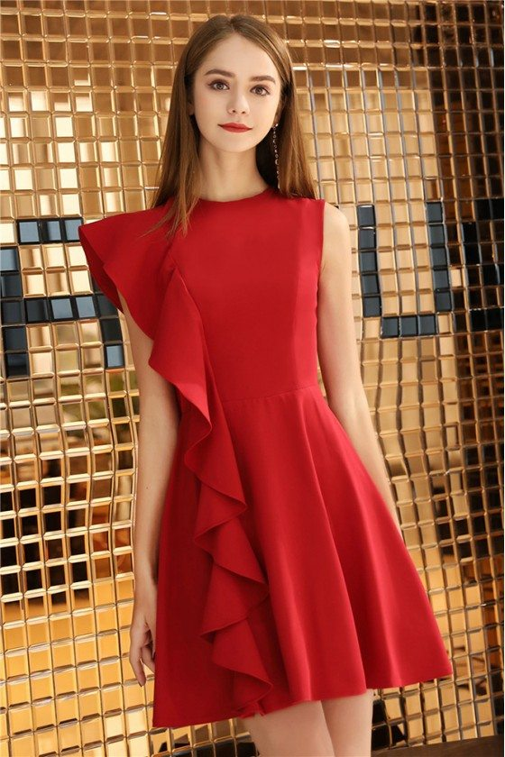 Little Red Chic Short Party Dress With One Sleeve