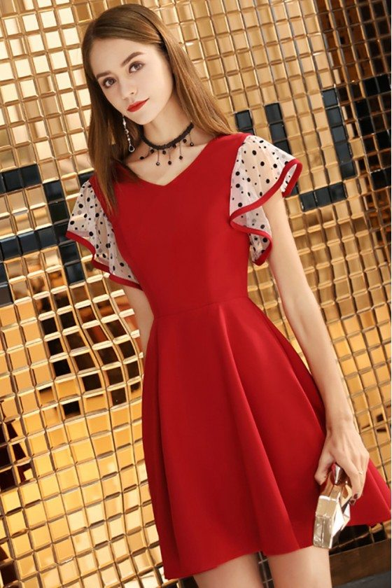 Cute Red Aline Short Dress Vneck With Dotted Sleeves
