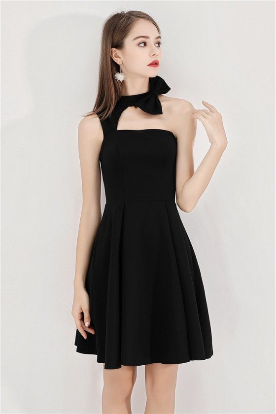 Short Halter Little Black Chic Party Dress Aline