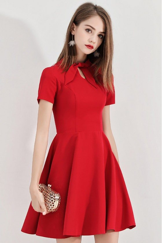 Retro Little Red Hoco Dress Bow Knock With Short Sleeves