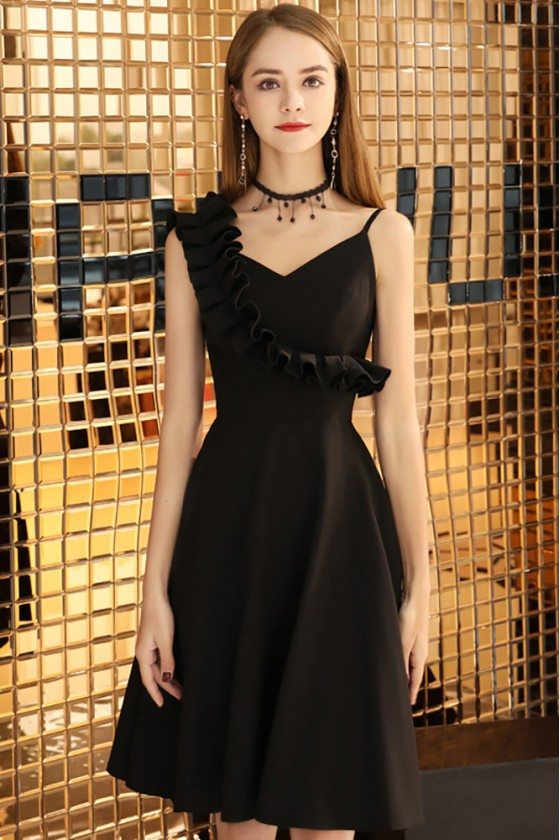 Chic Short Aline Little Black Party Dress With Straps