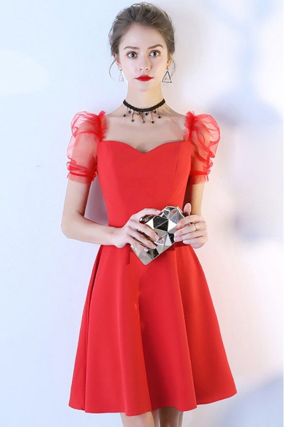 Little Red Short Party Dress Aline With Bubble Sleeves
