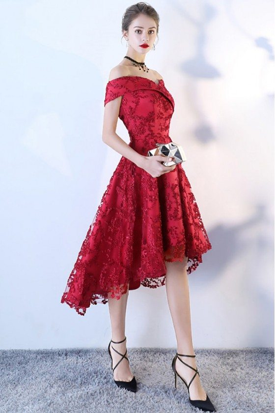 High Low Aline Red Lace Party Dress Off Shoulder