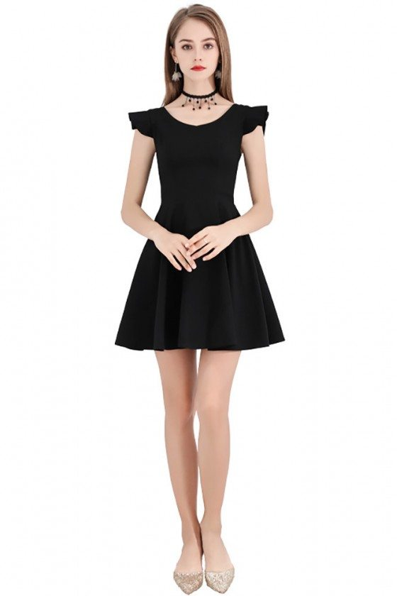 Chic Little Black Flare Semi Party Dress With Straps