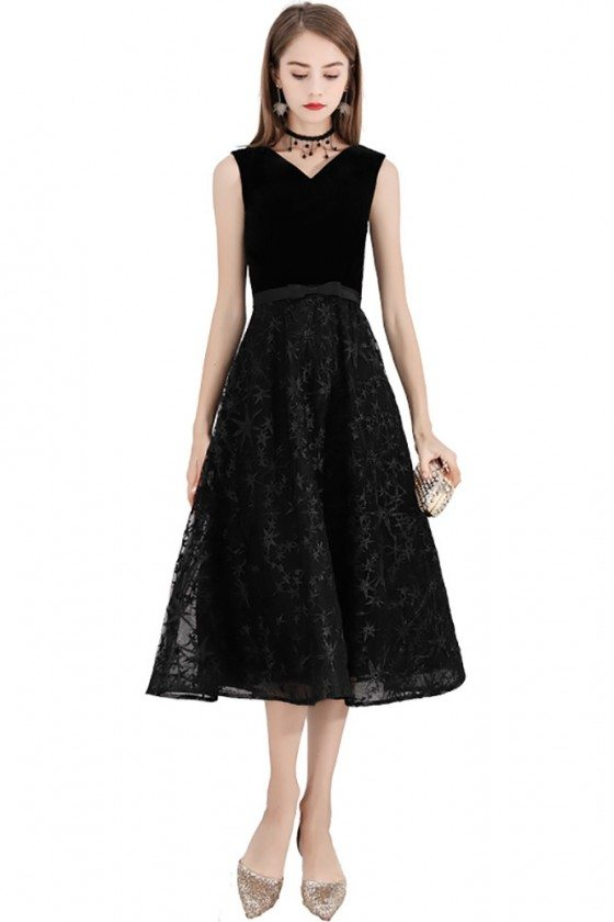 Retro Chic Black Aline Party Dress Lace Midi Length Sleeveless