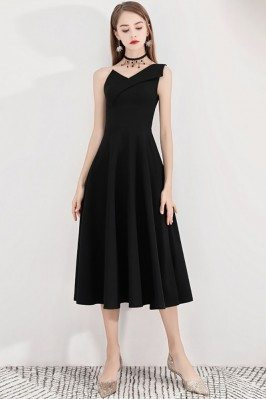 Black Retro One Shoulder...