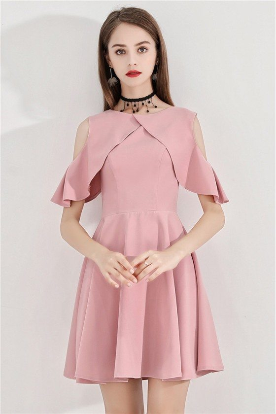 Pink Short Flare Party Dress Aline With Cold Shoulder