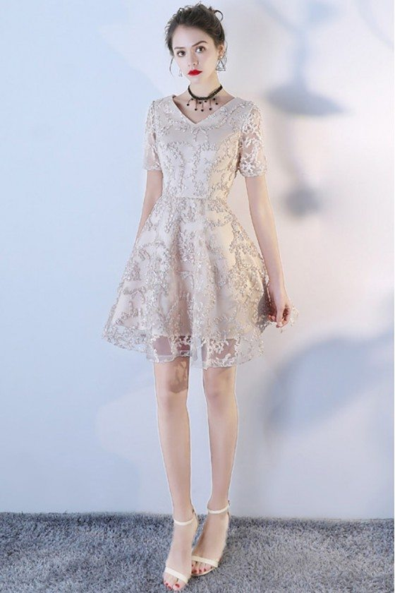 Short Champagne Vneck Lace Party Dress Aline With Sleeves