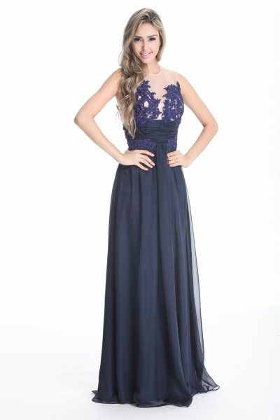 Navy Blue Lace Long Prom Dress