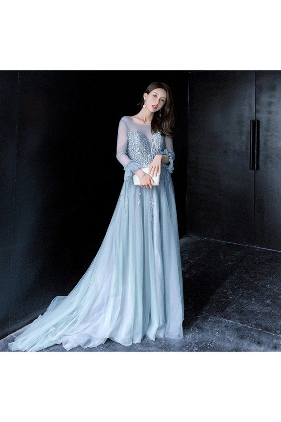 Beautiful Long Train Blue Prom Dress Lace With Illusion Long Sleeves - AM79060