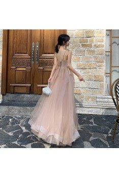 Nude Pink Pretty Long Tulle Prom Dress With Spaghetti Straps - AM79074