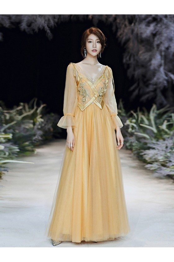 Gold Long Tulle Vneck Cheap Prom Dress With Sheer Long Sleeves