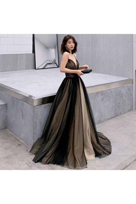 Champagne With Black Ballgown Prom Dress Vneck With Straps