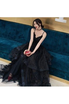 Bling Black Tulle Ruffled...