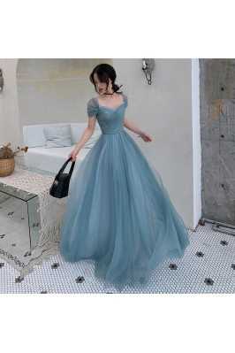 Dusty Blue Tulle Pleated...