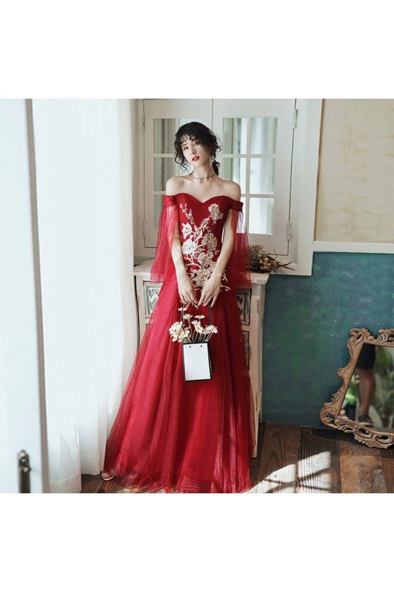 Burgundy Red Off Shoulder Aline Long Prom Dress With Embroidery - AM79035