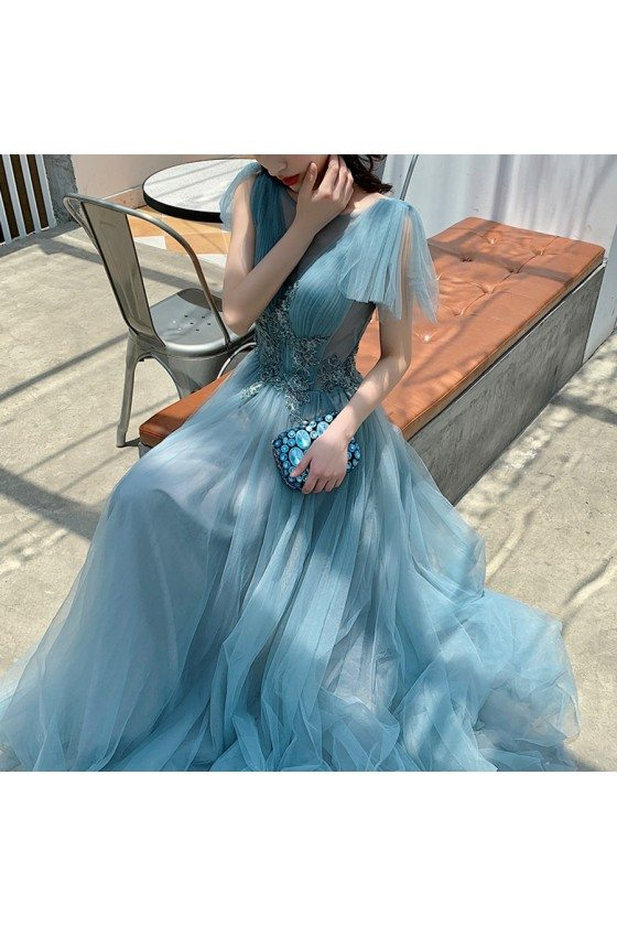 Sea Blue Beaded Long Tulle Prom Dress With Train - AM79129