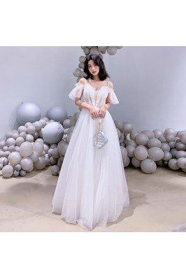 Elegant Long White Tulle Aline Prom Birthday Party Dress With Straps - AM79123