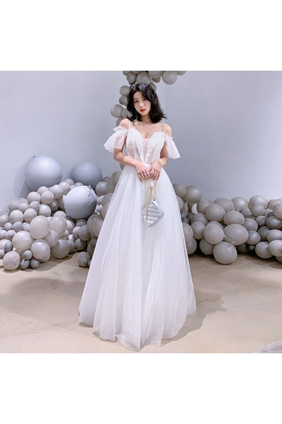 Elegant Long White Tulle Aline Prom Birthday Party Dress With Straps