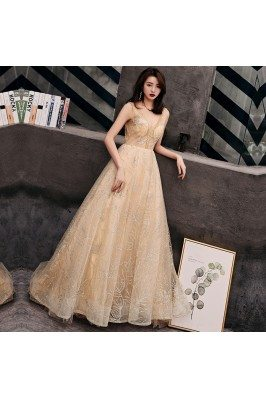 Champagne Gold Sparkly Sequins Vneck Prom Dress Backless - AM79159