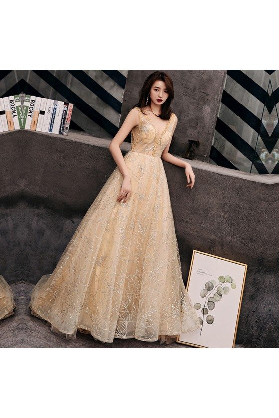 Champagne Gold Sparkly Sequins Vneck Prom Dress Backless