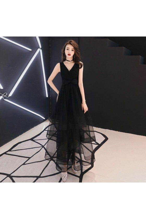 Simple Chic Black Vneck Party Dress With Tulle Ruffles