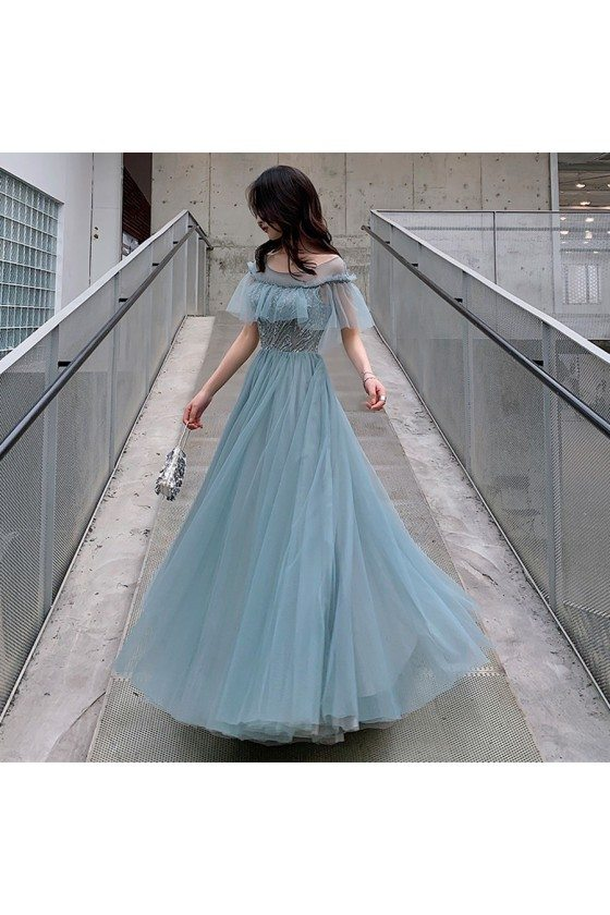 Elegant Dusty Blue Tulle Aline Long Party Prom Dress With Illusion Neckline - AM79099