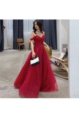 Pretty Long Red Burgundy Aline Prom Dress With Spaghetti Straps - AM79097