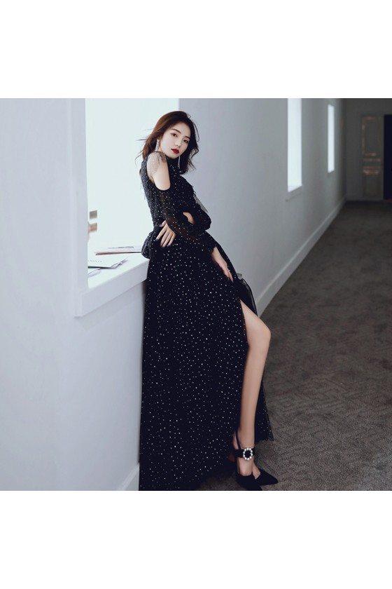 Bling Sequins Black Tulle Prom Dress Long With Cold Shoulder
