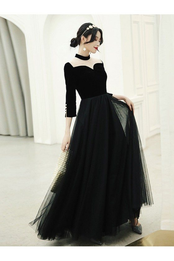 Retro Chic Long Black Special Occasion Dress With Illusion Neck And Sleeves