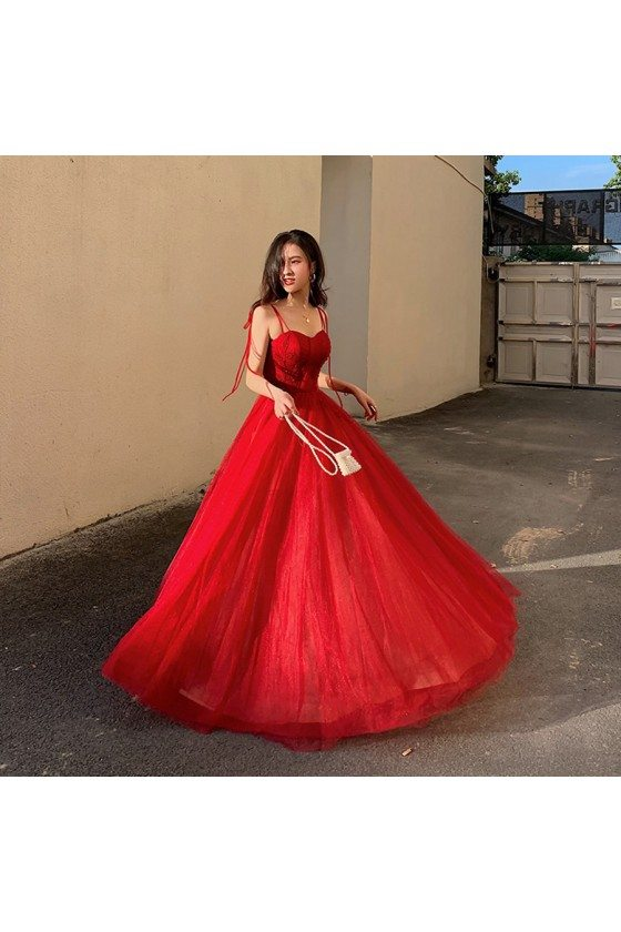 Flowy Long Tulle Red Formal Party Dress With Straps - AM79089