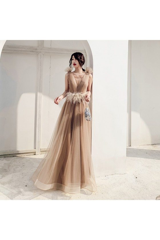 Unique Khaki Long Pleated Tulle Illusion Vneck Prom Dress With Feathers