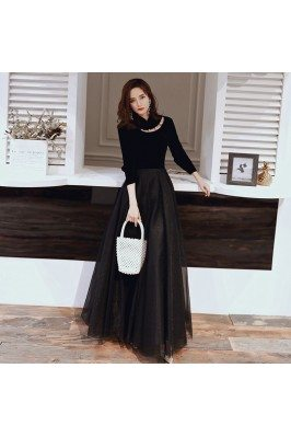 Noble Black Long Tulle Chic...