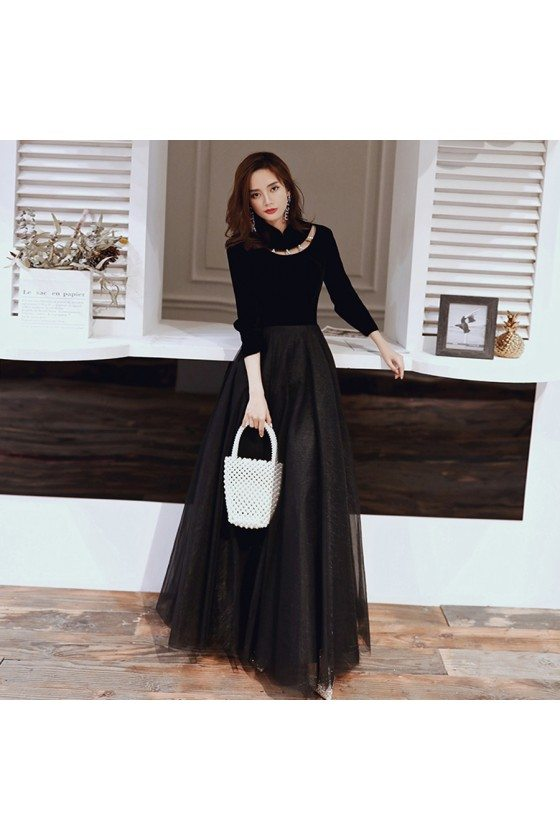 Noble Black Long Tulle Chic Party Dress With Long Sleeves
