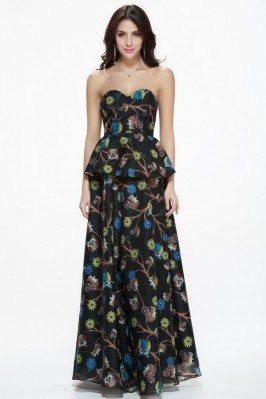 Empire Waist Animal Print Long Party Dress